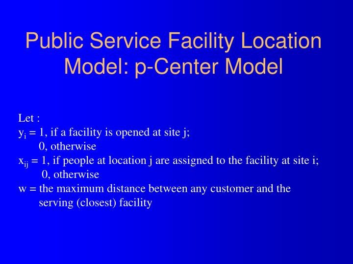 Public Service Facility Location Model: p-Center Model