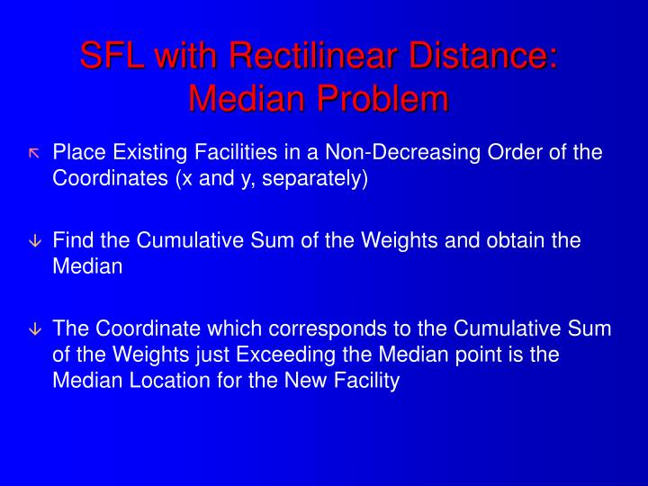 SFL with Rectilinear Distance: Median Problem