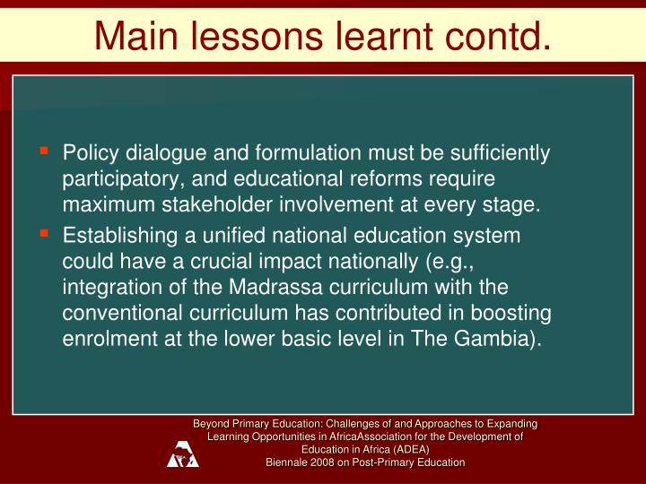 Main lessons learnt contd.