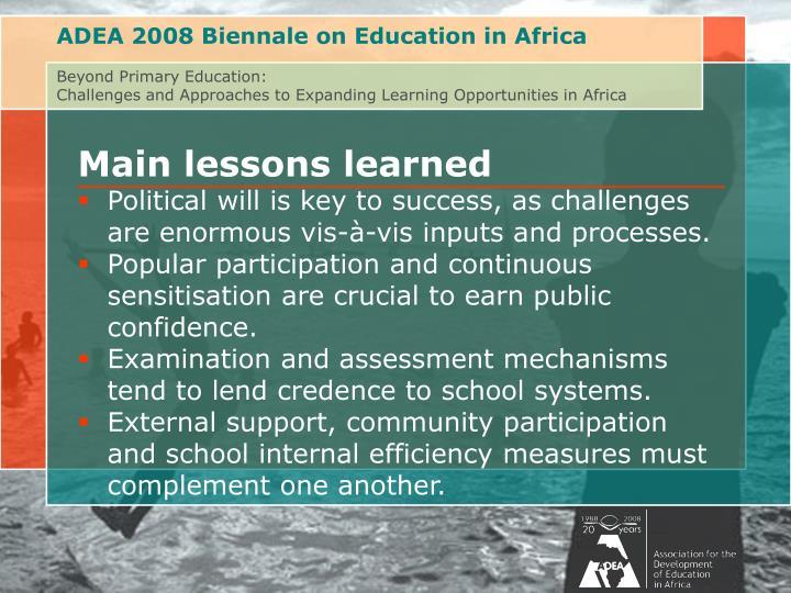 ADEA 2008 Biennale on Education in Africa