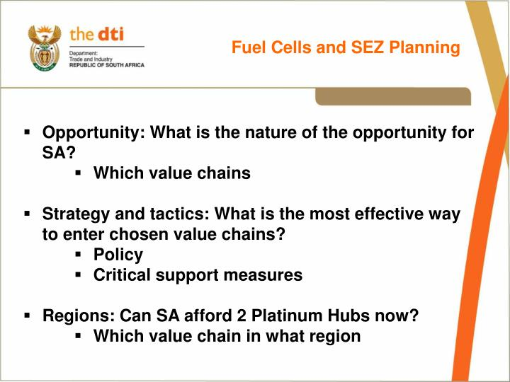Fuel Cells and SEZ Planning