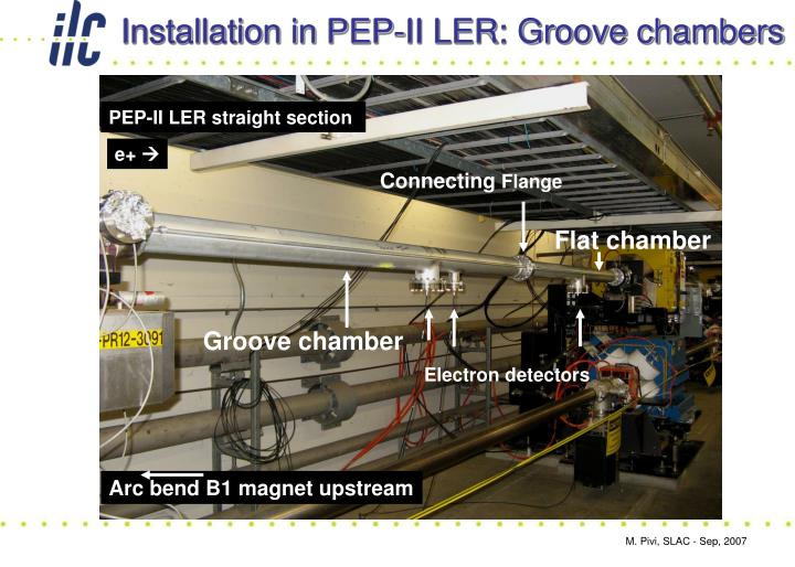 Installation in PEP-II LER: Groove chambers