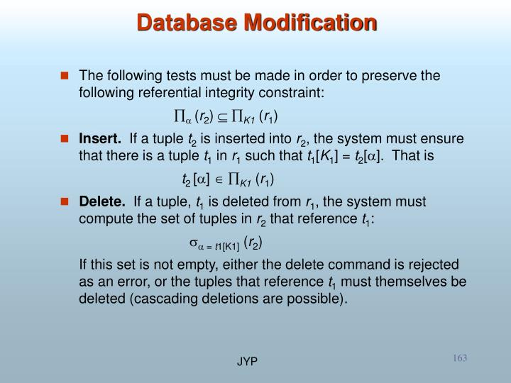 Database Modification