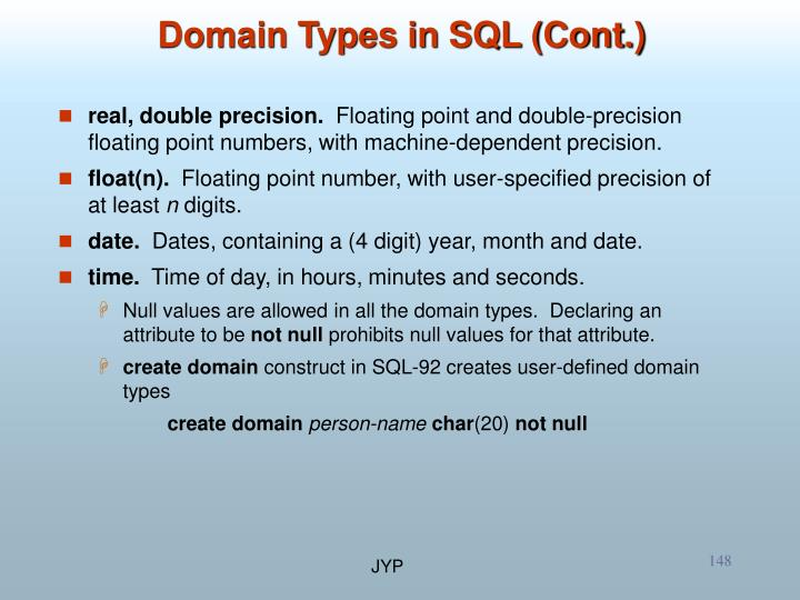 Domain Types in SQL (Cont.)