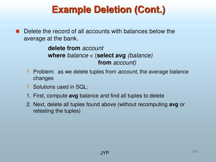 Example Deletion (Cont.)