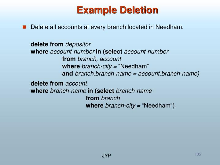 Example Deletion