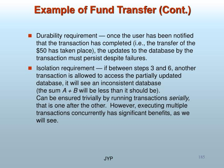 Example of Fund Transfer (Cont.)