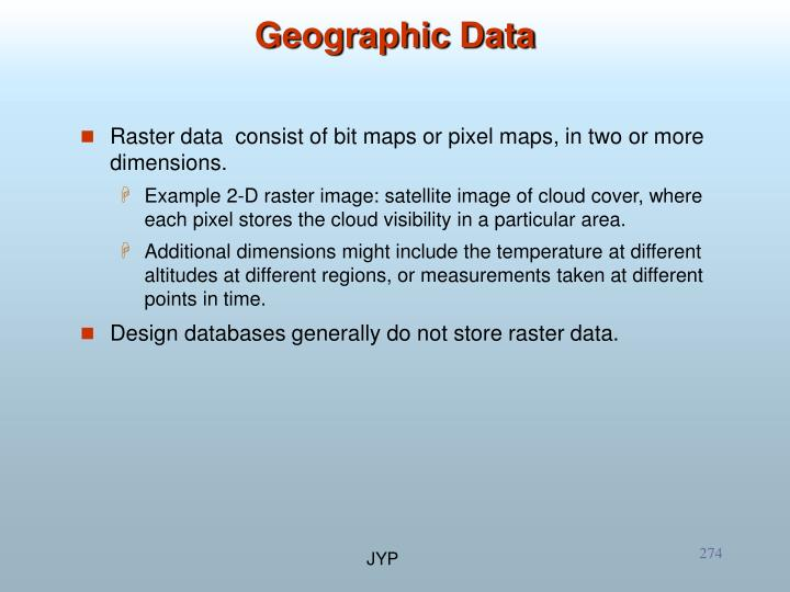 Raster data  consist of bit maps or pixel maps, in two or more dimensions.