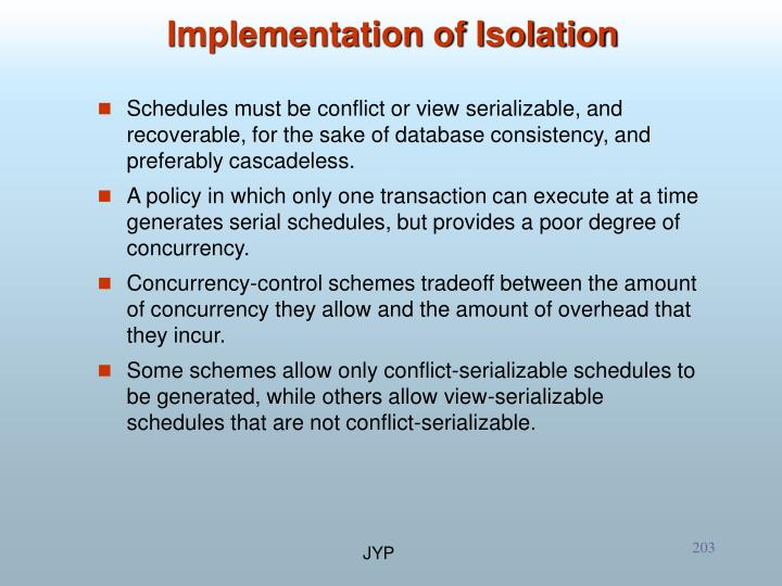 Implementation of Isolation