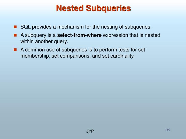 Nested Subqueries