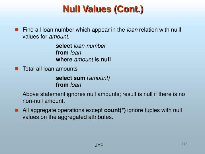 Null Values (Cont.)