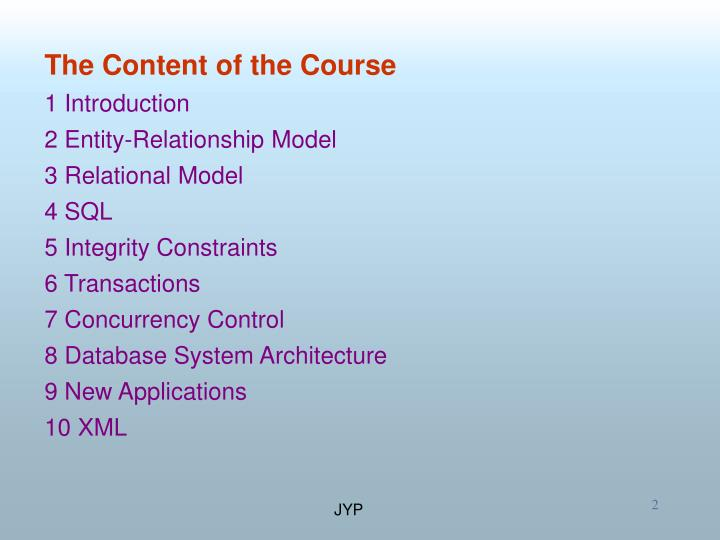 The Content of the Course