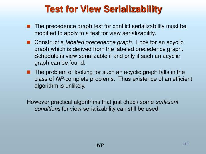 Test for View Serializability