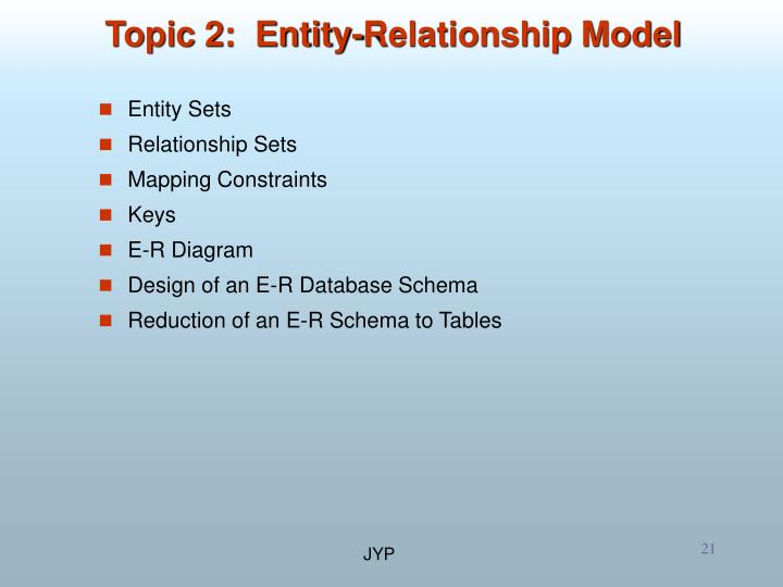 Topic 2:  Entity-Relationship Model