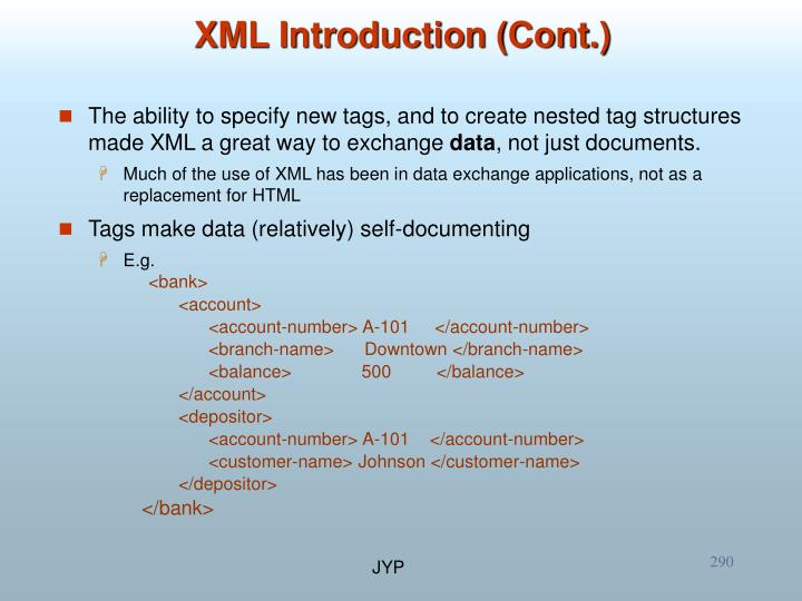 XML Introduction (Cont.)