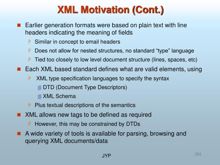 XML Motivation (Cont.)
