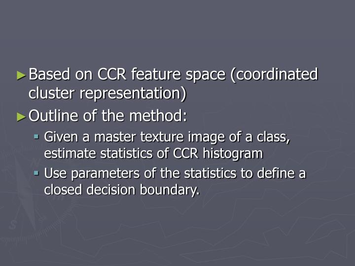 Based on CCR feature space (coordinated cluster representation)