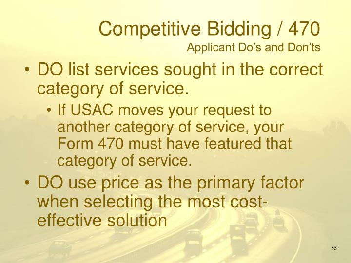 Competitive Bidding / 470