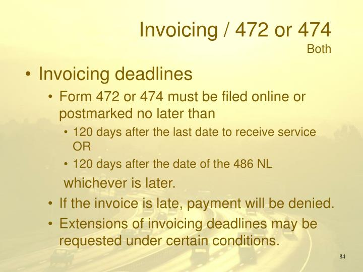 Invoicing / 472 or 474