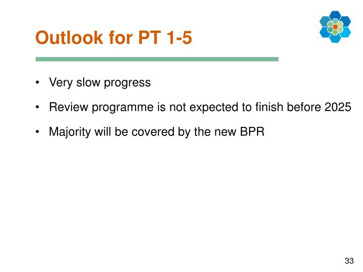 Outlook for PT 1-5