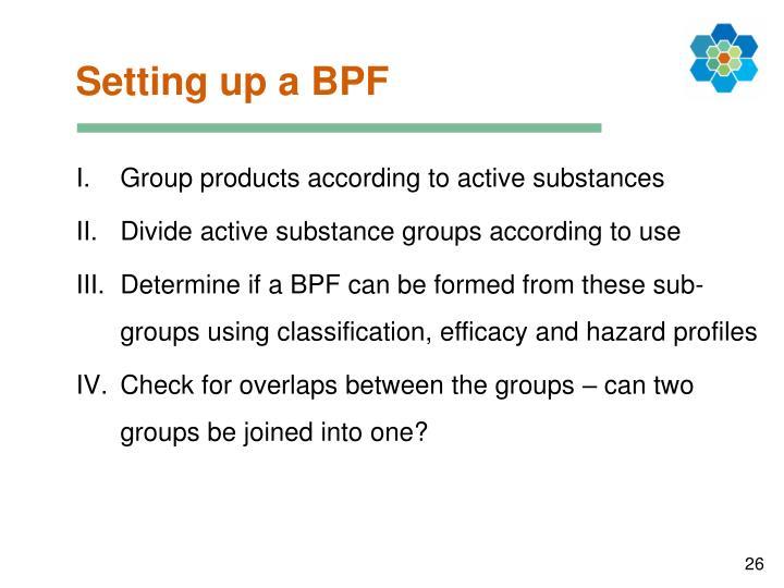 Setting up a BPF