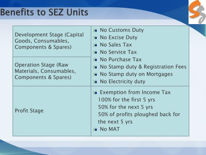 Benefits to SEZ Units