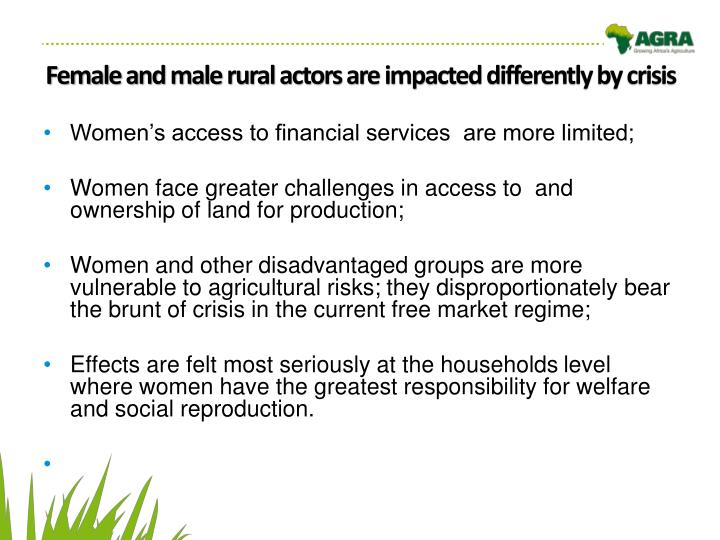 Female and male rural actors are impacted differently by crisis