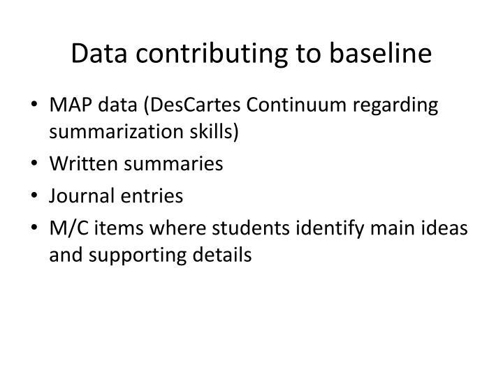 Data contributing to baseline