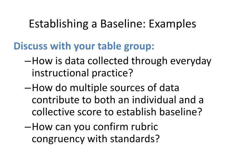 Establishing a Baseline: Examples
