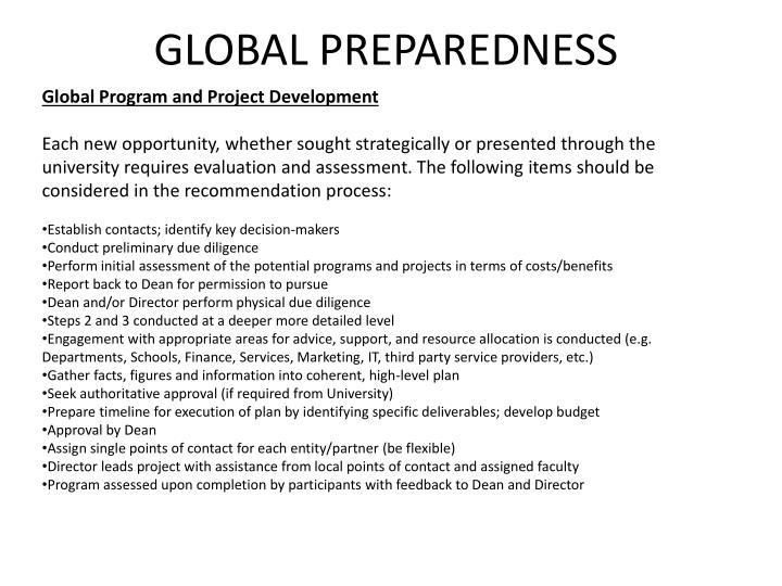 Global Program and Project Development