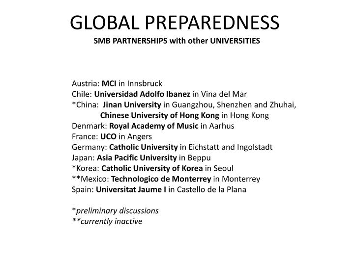 SMB PARTNERSHIPS with other UNIVERSITIES