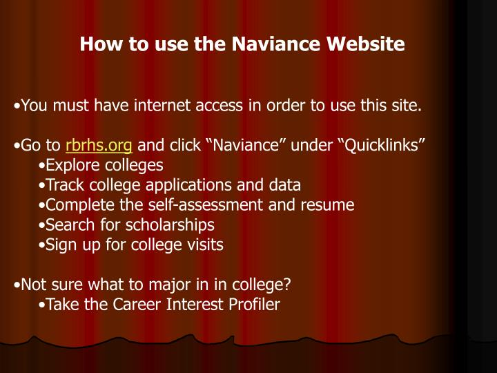 How to use the Naviance Website