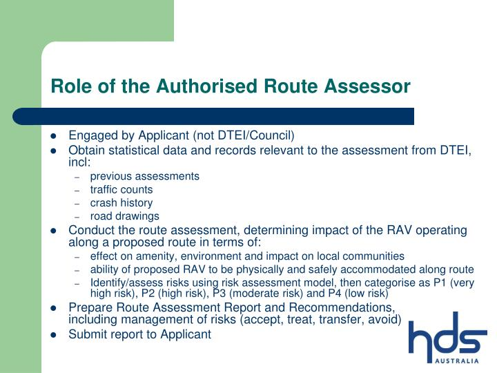 Role of the Authorised Route Assessor