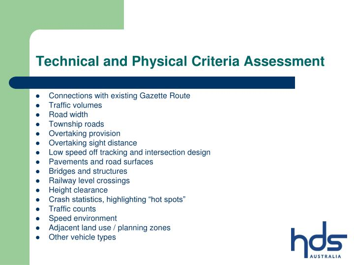 Technical and Physical Criteria Assessment