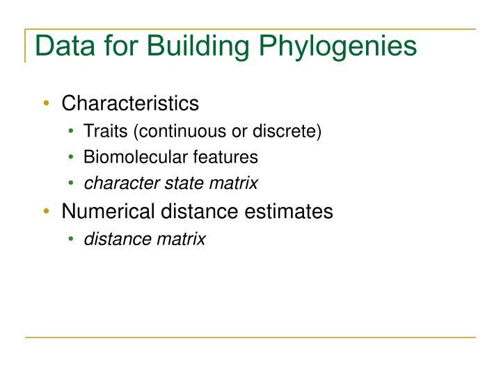 Data for Building Phylogenies