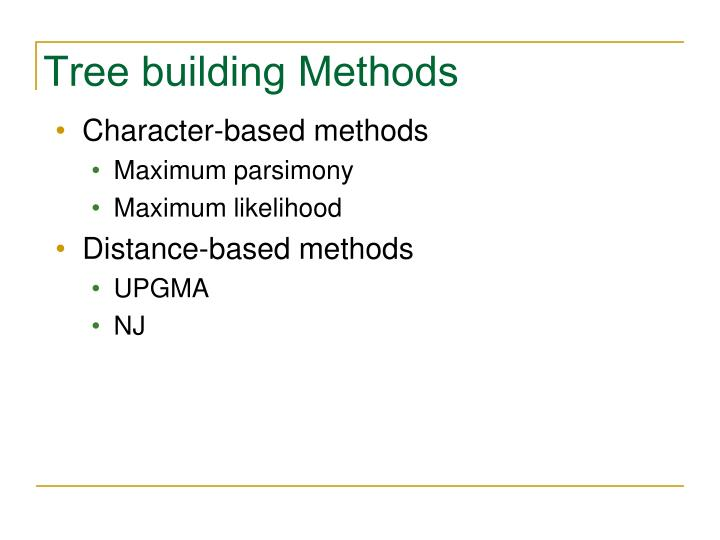 Tree building Methods