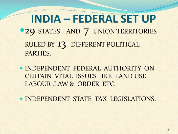 INDIA – FEDERAL SET UP