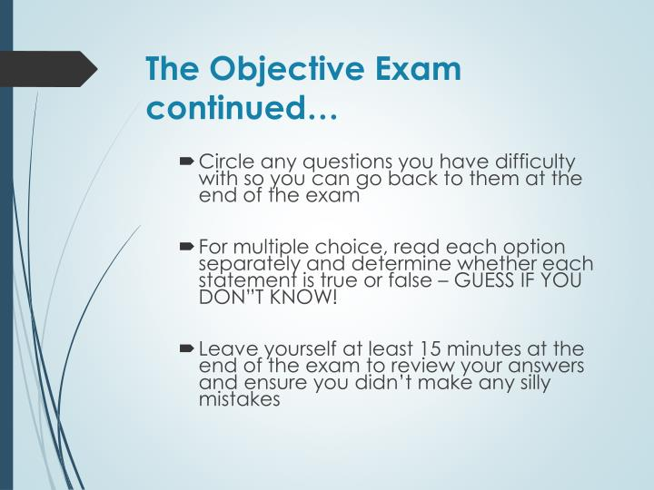 The Objective Exam