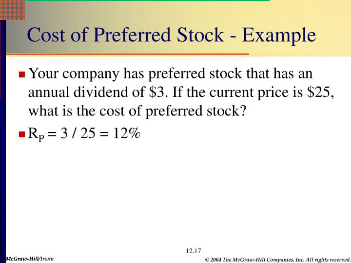 Cost of Preferred Stock - Example