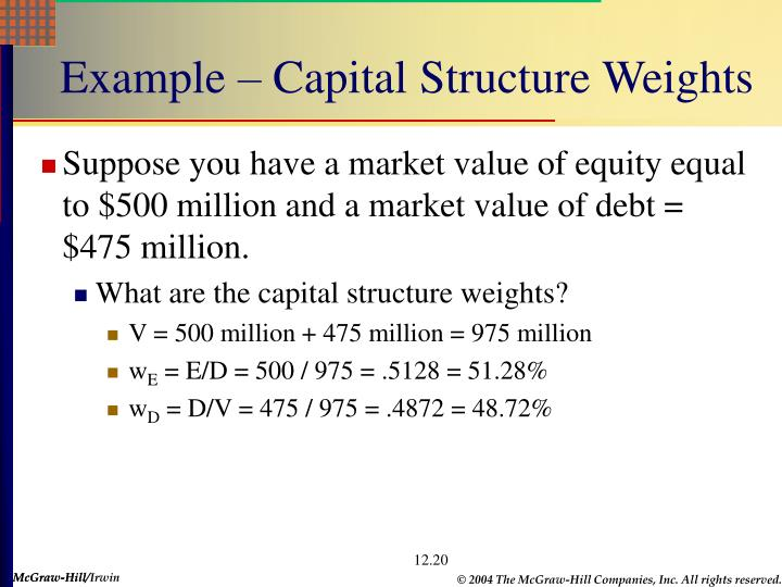Example – Capital Structure Weights