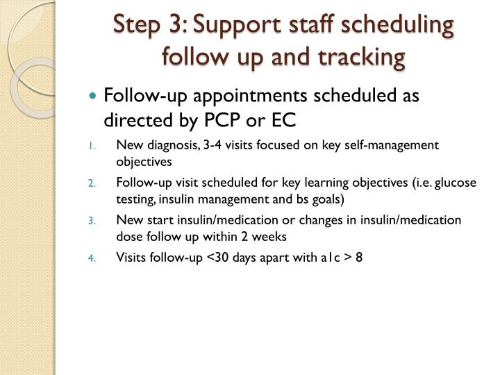 Step 3: Support staff scheduling follow up and tracking