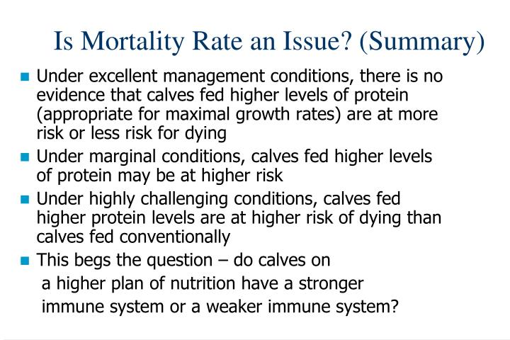 Is Mortality Rate an Issue? (Summary)
