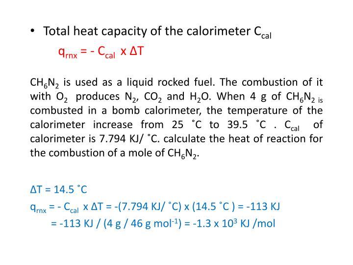 Total heat capacity of the calorimeter