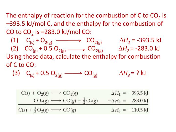The enthalpy of reaction for the combustion of C to CO