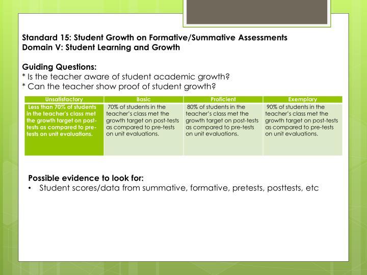 Standard 15: Student Growth on Formative/Summative