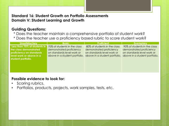 Standard 16: Student Growth on Portfolio Assessments