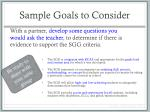 sample goals to consider