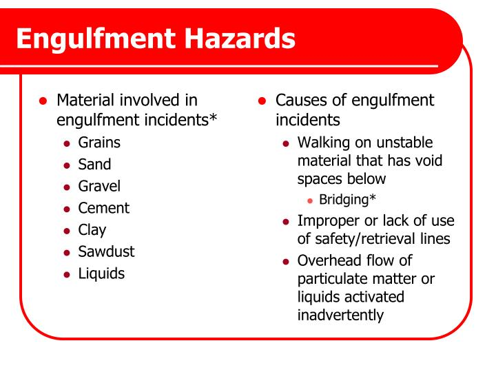 Material involved in engulfment incidents*