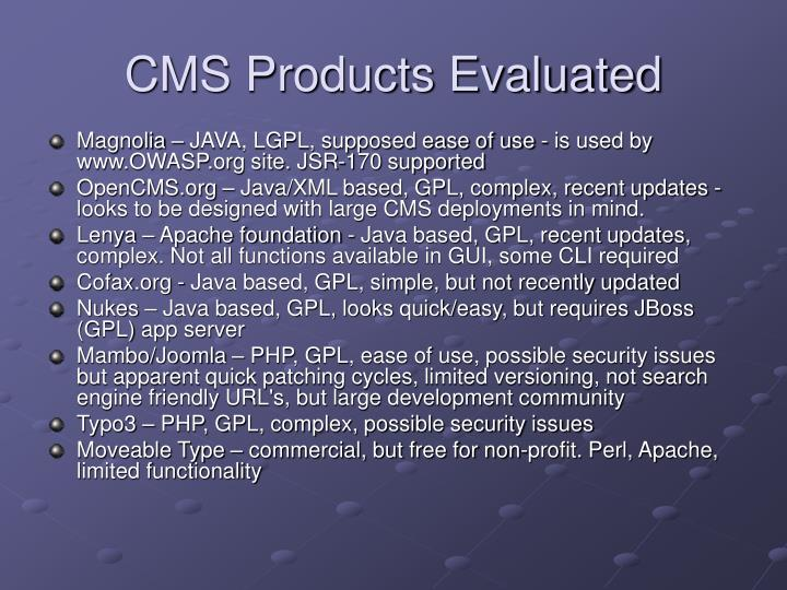 CMS Products Evaluated