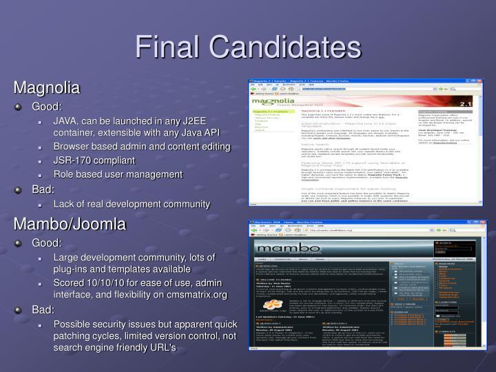 Final Candidates
